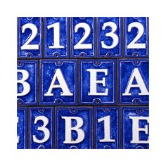 """$25 for 3 :(  (so would have to do $50)  .  good size.  blue might not go with my blue:  4.25"""" H x 2.5"""" W x 0.25"""" D  Ecco Tiles Lettering Number INSTALL INSTRUCTIONS (from diff site):  trace numbers on paper, making sure to mark the holes and that they are centered. place traced paper on surface where you are going to mount, mark holes using nail. a level will help you keep the numbers straight. Pre drill holes. hand screw the numbers into place. power drill too fast numbers crack."""