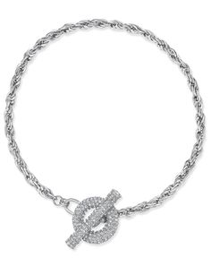 Inc International Concepts Silver-Tone Crystal Toggle Chain Necklace, Only at Macy's
