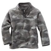 B'GOSH HALF-ZIP FLEECE COZIES With a football seam and cool grey camo, this warm fleece will be his go-to layer all season. With a graphic tee and denim, he's good to go!