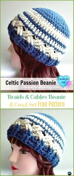Crochet Celtic Passion Beanie Hat Free Pattern - Crochet Cable Hat Free Patterns