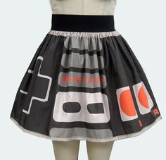 Good halloween costume - Retro Video Game Controller Full Skirt by GoChaseRabbits on Etsy, $45.99