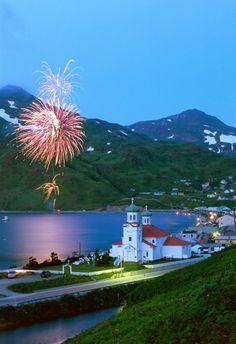 Fourth of July fireworks over the city of Unalaska in the Aleutian Islands of Alaska. Copyright:Dan Parret