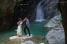 Sweet couple's wedding photos #Waterfalls  #Lefkas #Ionian #Greece #wedding #weddingdestination Eikona Lefkada Stavraka Kritikos