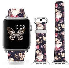 Iwatch Band Leather 42Mm,Apple Watch Strap Genuine Leather Replacement 42Mm Black Elegant Flower