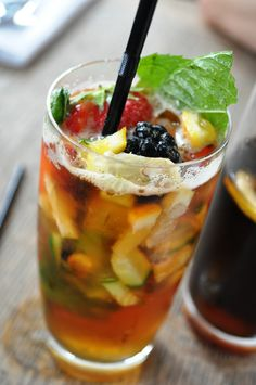 Pimms and lemonade - a perfect English summertime drink! Party Drinks, Cocktail Drinks, Cocktails, Pimms And Lemonade, Traditional Fish And Chips, Spring Carnival, Summertime Drinks, Good Food, Yummy Food