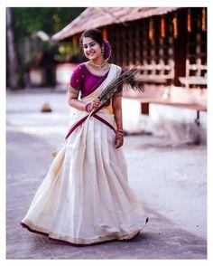 Bridal Sarees South Indian, Indian Bridal Outfits, Indian Bridal Fashion, Indian Gowns Dresses, Indian Fashion Dresses, Indian Designer Outfits, Girls Dresses, Kerala Engagement Dress, Engagement Dress For Bride
