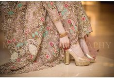 """Bridal hills"" ideas and inspiration – bestlooks Bridal Mehndi Dresses, Nikkah Dress, Bridal Dress Design, Bridal Style, Dress Brokat, Wedding Dresses, Wedding Sandals For Bride, Bridal Sandals, Wedding Shoes Heels"