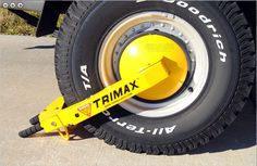 Too keep your tiny home save while your away from home. Trimax Trailer Wheel Lock Boot Clamp TWL100