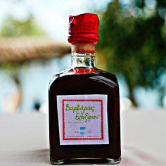 Homemade cranberry liqueur in Halkidiki, Greece