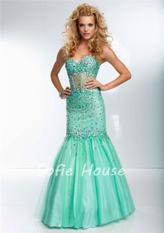 f2cb09a1348fa Newest long mermaid sweetheart see through midriff beaded mint green tulle  evening gown graduation party prom