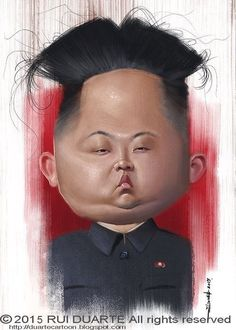 Kim Jong Un caricature, large forehead, smushed face Cartoon People, Cartoon Faces, Funny Faces, Cartoon Art, Funny Caricatures, Celebrity Caricatures, Famous Cartoons, Funny Cartoons, Caricature Art