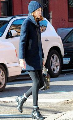 alexa chung beanie, coat, leggings, heeled lace up booties