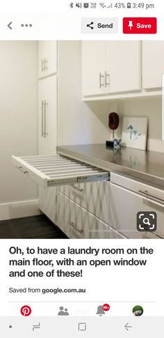 Open Window, Laundry Room, House Ideas, Windows, Flooring, Cabinet, Storage, Furniture, Home Decor