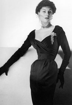 Ciao Bellissima - Vintage Glam; Model Stella wearing silk crèpe cocktail dress by Jacques Fath, 1953