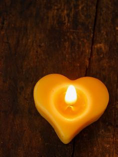 Set of 4 Heart Tea Light Beeswax Candles by RockyMtnBeeCandles