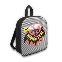 "Backpack for kids ""MOMMY'S LITTLE"" MONSTER Adorable little backpack with tattoo-inspired prints.  With its zipped closure, adjustable straps and its pocket inside, this beautiful bag is as practical as pretty. It will be perfect for kindergarten, school, walks or for picnics with the family!"