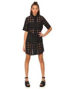 Buy Motel Bobtail Shirt Dress in Sheer Black Check at Motel Rocks - Motel Rocks