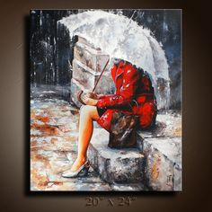 24  Rainy Day Original Painting on Canvas Figurativ by itarts, $325.00