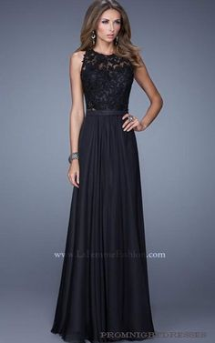 Black La Femme 20638 Halter Neckline Prom Dress