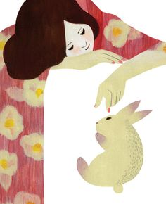. lapin . fille . rabbit and girl illustration
