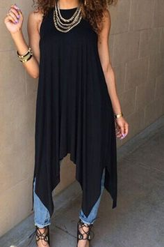 Casual Sleeveless High-Low Hem Solid Color Midi Dress for Women