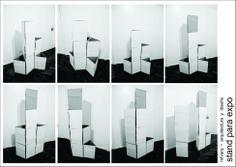 Arquitectura realizada para expo en ConvoFeria, Febrero 2014. Buenos Aires, Arg.  Se reutilizaron módulos simples de cartón corrugado, a partir de los cuales se diseñaron módulos compuestos en base a la forma del triángulo para armar el conjunto.  Si te interesó o tenés alguna consulta, contactate con nosotros a info@mfvarq.com.ar