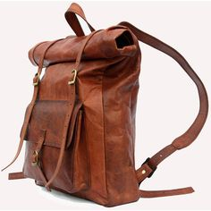 Leather Roll Top Backpack / Rucksack (Light Brown) - Vintage Retro... ($125) ❤ liked on Polyvore