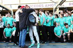 Nico Rosberg pictured hugging Mercedes boss Niki Lauda after his win in the Australian Grand Prix