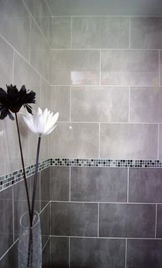 Dark Grey Light Tile Bathroom