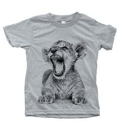 £20   Kids Tshirt Hand Screen Printed African Lion Cub on American Apparel Short Sleeve Water Based Ink