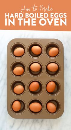 Easy Hard Boiled Eggs in the Oven - Fit Foodie Finds - Tessa Toombs Oven Boiled Eggs, Baked Hard Boiled Eggs, Eggs In Oven, Making Hard Boiled Eggs, Perfect Hard Boiled Eggs, Healthy Egg Salad, Easy Egg Salad, Healthy Lunches, Hard Boiled Egg Breakfast