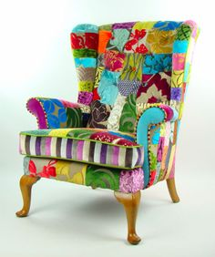 Bespoke Vintage Patchwork Chair Designers Guild Fabric | eBay