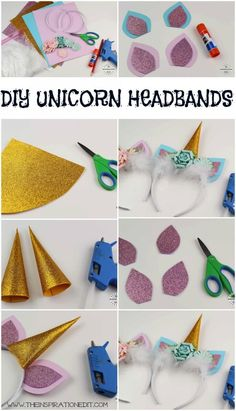 Unicorn Headbands with free template. Gorgeous DIY Unicorn Headband For Kids. Perfect for a Unicorn party. Print out the diy unicorn headband template and make your Diy Unicorn Headband, Headband Crafts, Baby Unicorn, Horn Headband, Flower Headbands, Baby Headbands, Fun Crafts, Diy And Crafts, Crafts For Kids