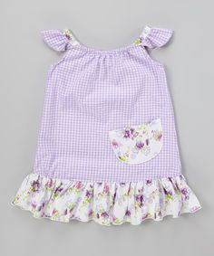 Look at this Lavender Gingham Angel-Sleeve Dress - Infant, Toddler