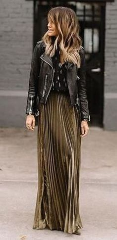 street style addict: biker jacket + maxi skirt