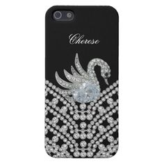 iPhone Silver White Diamond Swan Image Black Cover For iPhone 5