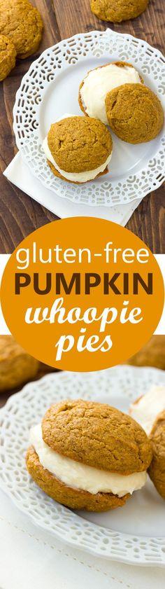 Two moist Gluten-Free Pumpkin Gluten-Free Pumpkin Whoopie Pies! Two moist spiced pumpkin cookies filled with Cookies Sans Gluten, Dessert Sans Gluten, Gluten Free Sweets, Gluten Free Cooking, Paleo Dessert, Dessert Recipes, Healthy Desserts, Dessert Ideas, Dinner Recipes