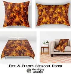 Home Decor  - HOT STUFF! - Fire and Flames Pattern also available on prints, fashion & more! #Society6 #Gravityx9 #firepattern #flamespattern -