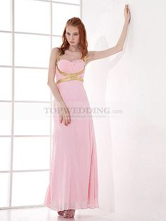 Straps Chiffon Ankle Length Empire Prom Dress with Sequins