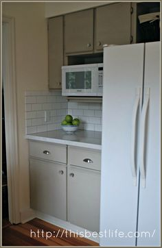 Annie Sloan Chalk Paint On The Cupboard, Subway Tiles And Quartz  Countertops. I Am So Happy With My Redo Of My Melamine And Oak Trim Cabinet  Kitchen.