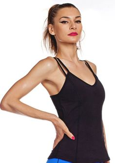 b30f0240d36ab Nina B Roze women's black yoga top is the perfect workout tank for all your  activities. Shell bra inside with mesh insert back and keyhole.