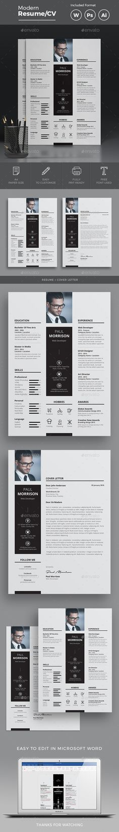 Clean & Modern Resume/cv template to help you land that great job. The flexible page designs are easy to use and customize, so you Modern Cv Template, Resume Design Template, Creative Resume Templates, Resume Format, Resume Cv, Resume Writing, Resume Tips, Cv Simple, Cv Curriculum