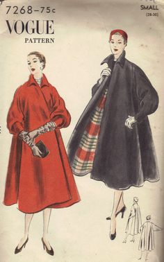 1950s Swing Coat Full Length Flared Wrap Front Winter Raincoat Vogue Sewing Pattern Uncut Bust 30