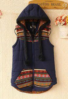 Folk Style Floral Print Hooded Vest