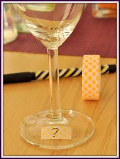 à faire o pied du verre avec motif différent car 25 verres Marquer verre pour buffet avec masking tape