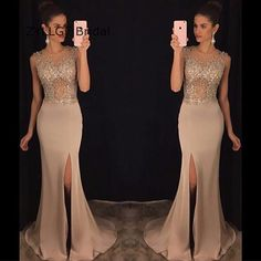 ZYLLGF Bridal New Arrival Sexy Mermaid Prom Dress 2017 High Slit Prom Party Dress With Beadings Factory Made TS165