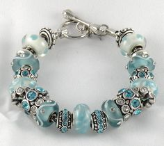 New Light Aqua Complete Charm Bracelet Beads Bracelet Brighton Jewelry Bag | eBay