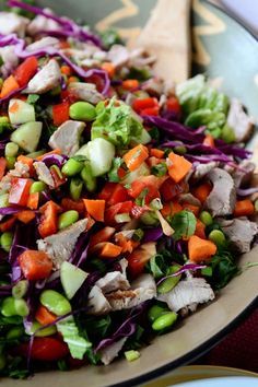 Chopped Thai Crunch Salad. This was great! Next time, don't add chicken to the salad. The marinade was delicious. The salad could be a side.