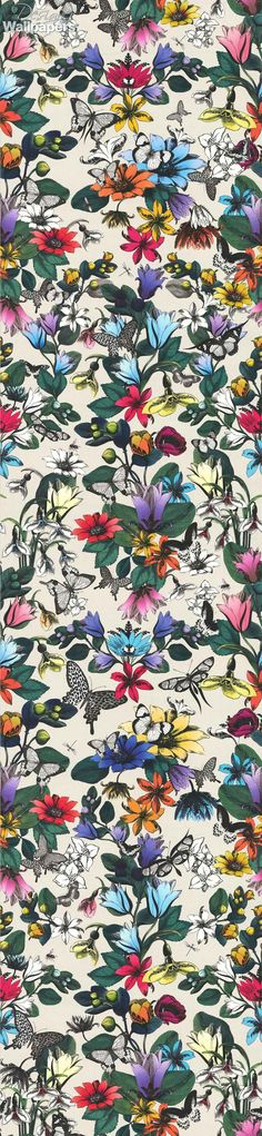 This bold and vivid wallpaper features a variety of beautiful, brightly-coloured, blooming tulips and pretty, delicate, fluttering butterflies. It's named after the origin of tulip, the ancient Ottoman word Tulipan, which means turban and whose shape many believe the flower resembles.  This eye-catching, multi-coloured, floral design is perfect for a feature wall.