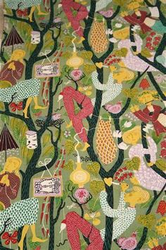 Fabric, Lustgården/Garden of Eden. Designed by Stig Lindberg for NK